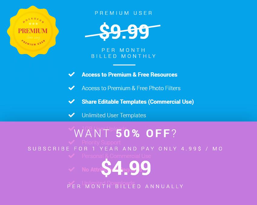 MockoFun Premium User Yearly Price