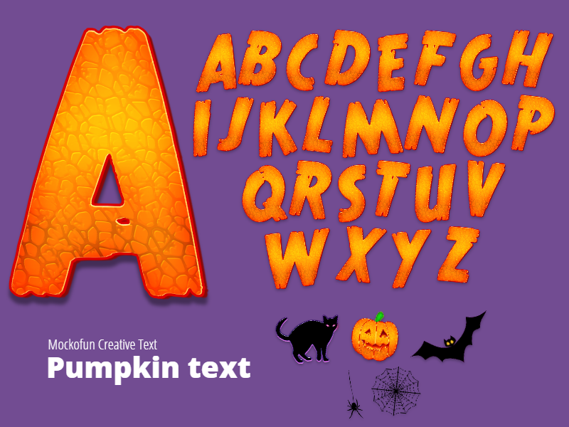 Halloween Pumpkin Text Alphabet Letters