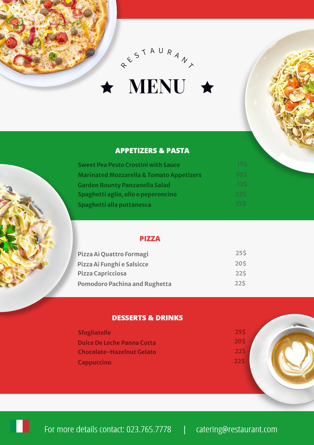 Italian menu template