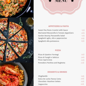 Menu for Italian Restaurant
