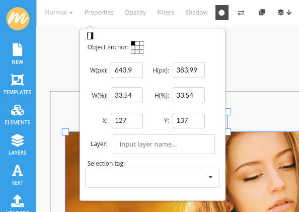 Resize image width and height