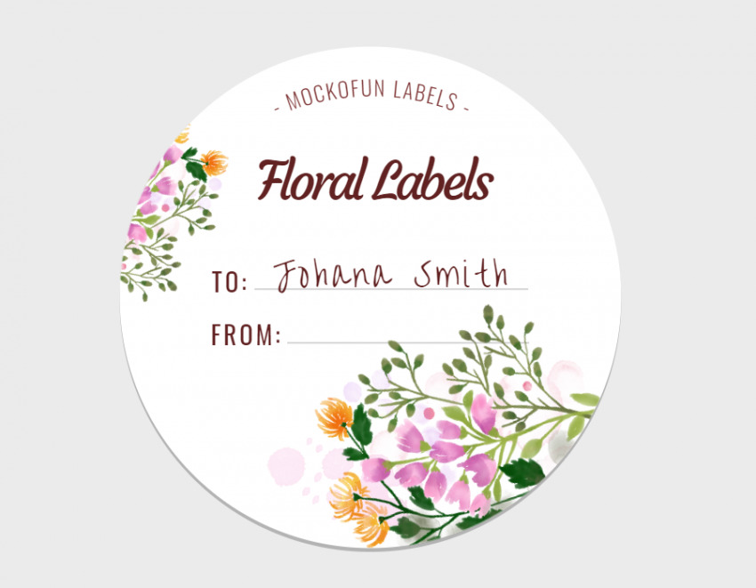 Floral Round Label
