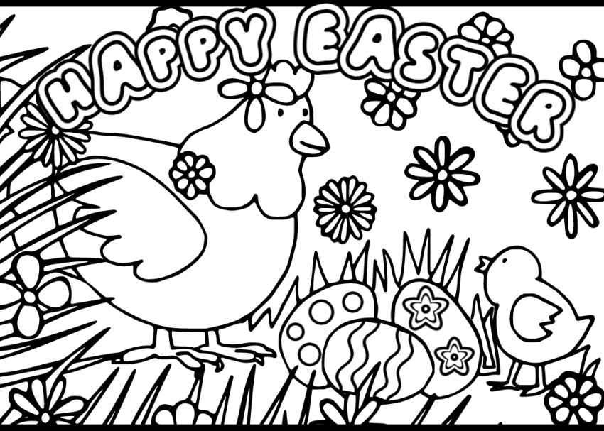 Printable Easter Card to Color