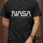 NASA LOGO T SHIRT WHITE ON BLACK